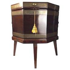 Georgian Antique Brass Bound Mahogany Wine Cooler