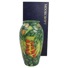 Boxed Moorcroft Rainforest Pattern Vase Ltd Ed. 28/100