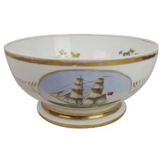 19th Century Porcelain Pedestal Ship Bowl