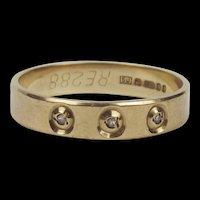 9ct Yellow Gold Diamond Band Ring UK Size P US 7 ½