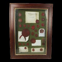 Framed Set Of 19th Century British & European Red Wax Seals