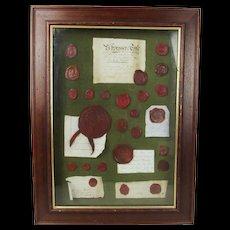 Framed Set Of 19th Century British & European Red Wax Seals
