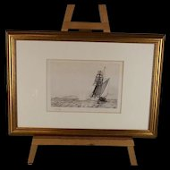 """Framed W.L.Wyllie Etching """"Naval Engagement  Of The Q Ship Probus"""""""