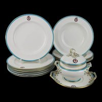 Mid 19th Century Mintons-Mortlock Crested 12 Piece Dinner Set