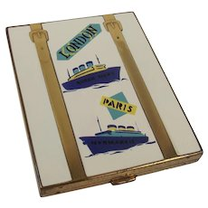 Art Deco Compact - RMS Queen Mary - SS Normandie  c1920's