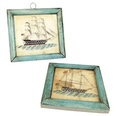 Pair of Miniature, 19th Century, Naive Style Paintings of HMS Monarch