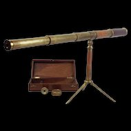 19th Century Cased Dollond Of London Library Telescope