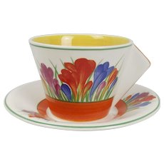 Wedgewood Clarice Cliff Ltd Ed. Tea For Two Crocus Pattern Cup & Saucer