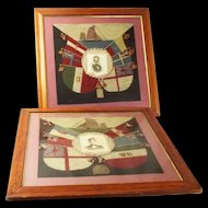 Pair of Antique Maritime Woolwork Portraits