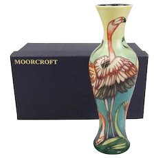 Boxed Moorcroft Pottery Everglade Flamingo Pattern Vase c2000