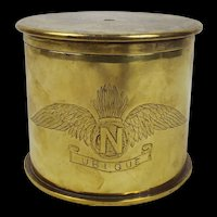 WW1 Royal Artillery - Royal Flying Corps Trench Art Brass Tobacco Jar c1915