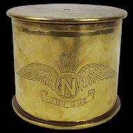 WW1 Royal Artillery - Royal Flying Corps Trench Art Brass Tobacco Jar c1915