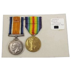 WW1 Medal Pair Awarded To 353967 Pte C.H. Campfield 7th London Regt