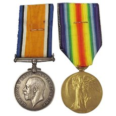 WW1 Medal Pair Awarded To 208601 Gnr J.A. Yeomans RA