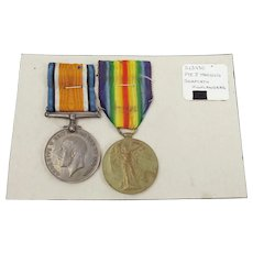 WW1 Medal Pair Awarded To S-23930 Pte. J. Marquis. Seaforth Highlanders