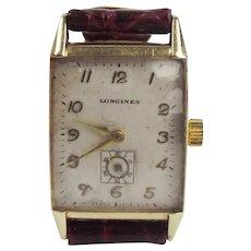14ct Gold Gents Longines Tank Wristwatch c1940's