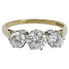 9ct Yellow Gold Cubic Zirconia Trilogy Ring UK Size R+ US 8 ¾
