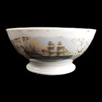 19th Century Porcelain Pedestal Ship Bowl #1