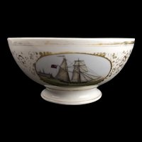 19th Century Porcelain Pedestal Ship Bowl #2