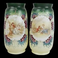 Pair Of Victorian Scene-Painted Glass Vases