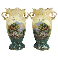 Pair Of Victorian English Scene-Painted Vases