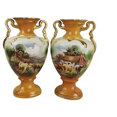 Pair Of English Late Victorian Scene-Painted Vases