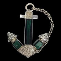 Victorian Silver & Glass Anchor Shaped Scent Bottle c1847