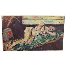 Circa 1940's Acrylic On Canvas Nude Study by M. Austin