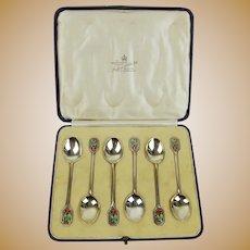 Cased Set Of Six Silver & Enamel Coffee Spoons c1932