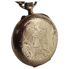 Ladies Gold Plated French Pocket Watch