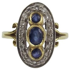 18ct Yellow Gold Sapphire & Diamond Ring UK Size R US 8 ½