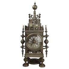 Mid 19th Century French Japy Freres Cast Metal Mantle Clock