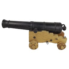 Decorative Cast Iron & Oak Model Of A Cannon