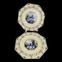 Pair of Minton Castle Scene Plates c1878