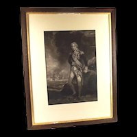 "Antique Framed Minnie Cormack Mezzotint ""Lord Nelson"" - (after John Hoppner)"