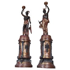 Antique Pair of Cast Iron Torchères by The Foundry of Val D'Osne