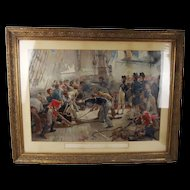 Framed Chromolithographic Print Of The Hero Of Trafalgar After W.H. Overend