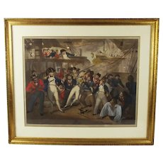 Framed Chromolithographic Print 'England Expects Everyman To Do His Duty' c1806 - Nelson - HMS Victory