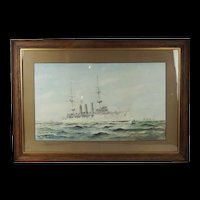 W. L. Wyllie Framed Watercolour Of A Monmouth Class Cruiser - Signed