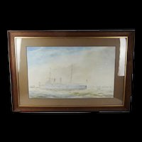 W. L. Wyllie Framed Watercolour Of HMS Naiad (1890)
