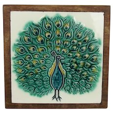 c1900's Peacock Design Ceramic Wall Tile Possibly Henry Richards