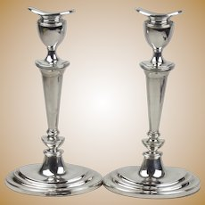 Pair of Sterling Silver Candlesticks c1970