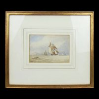 Framed Watercolour Sailing Ships Off Coast By James Wilson Carmichael 1800-1868