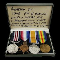 WW1 Medal Set Awarded To 1546 Pte H. Brown Notts & Derby Regt