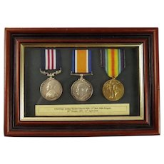 Framed WW1 Military Medal Set Awarded to S18410 Sjt. A. H. Harris 13th Battalion Rifle Brigade