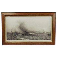 William L. Wyllie Signed Etching Of Windy Corner Jutland c1916