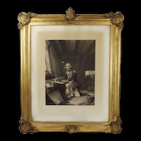 Framed Print - Nelson At Prayer, On Going Into Battle At Trafalgar c1850's