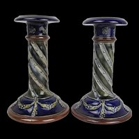 Pair Of Royal Doulton Stoneware Candlesticks