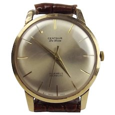 9ct Yellow Gold Centaur De Luxe Wrist Watch c1970