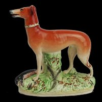 Circa 1900 Staffordshire Pottery Whippet Figurine